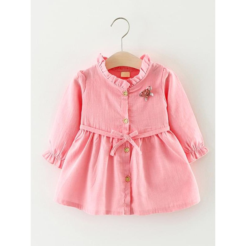 f5d33a8f9 Kiskissing pink Solid Color Shirt Dress Long-sleeve Bamboo Fiber Cotton for Toddlers  Girls wholesale