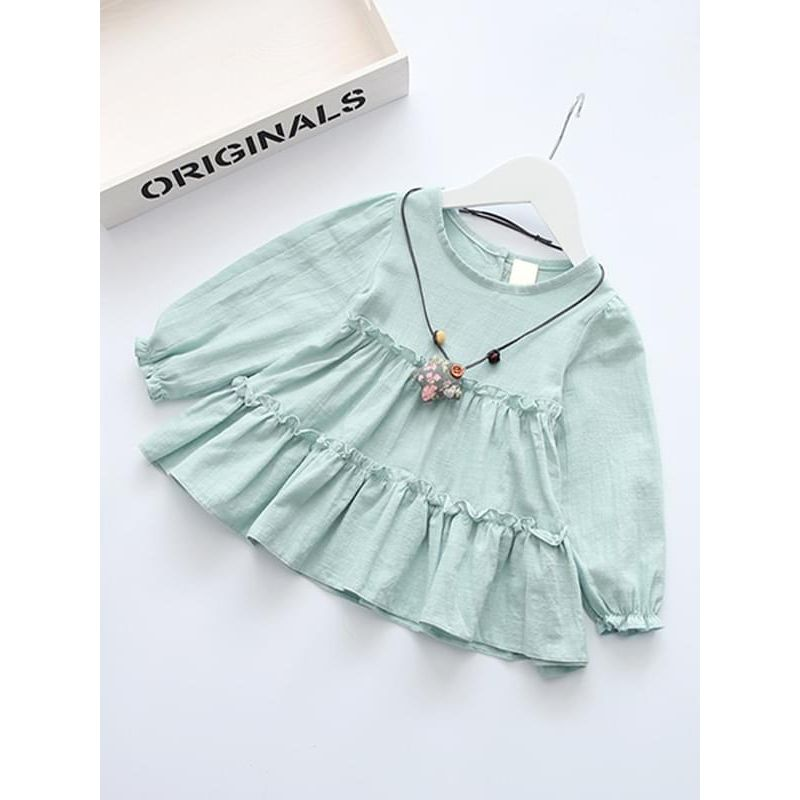 Kiskissing green Solid Color Ruffled Long-sleeve Cotton Dress for Toddlers Girls wholesale childrens clothing
