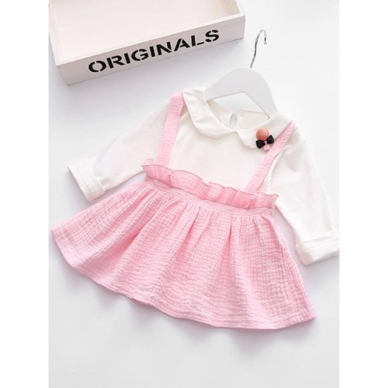 Kiskissing Cute One-piece Pink Long-sleeve Strapped Cotton Dress for Toddlers Girls children's boutique clothing wholesale