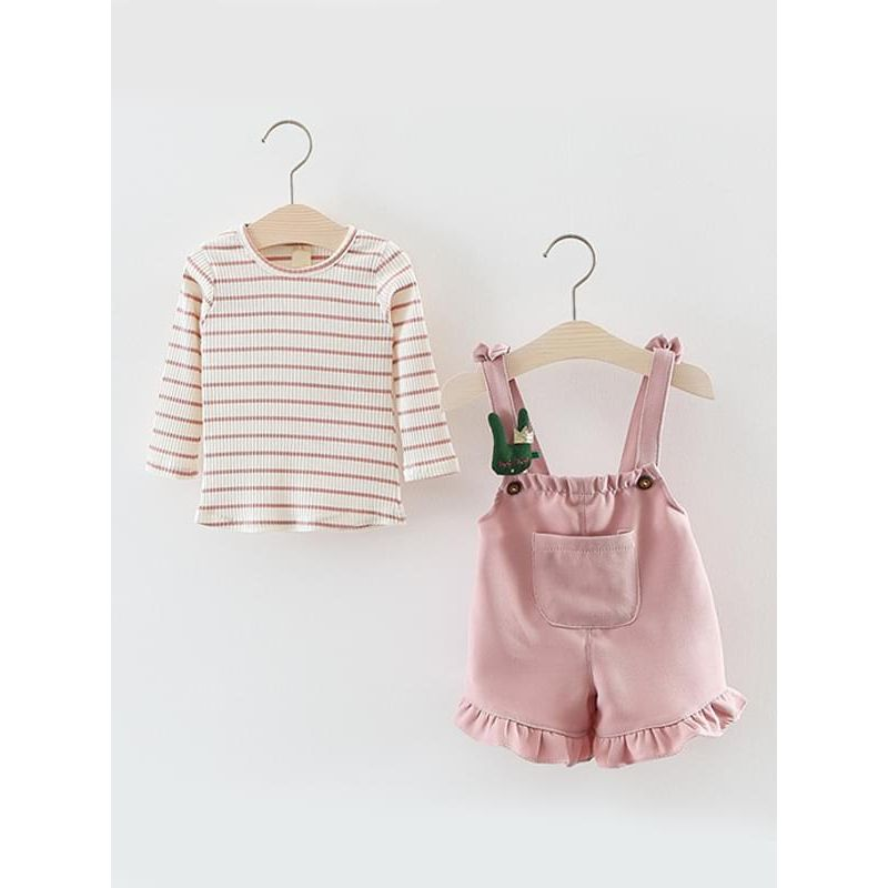 Kiskissing pink Cute 2-piece Tee Overalls Outfit Set Striped Long-sleeve Top Strapped Shorts for Toddlers Girls wholesale children's boutique clothing suppliers