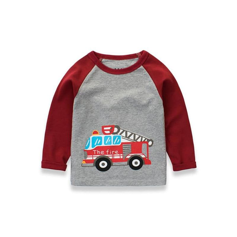 Kiskissing red Cartoon Vehicle Printed Long-sleeve Tee Cotton T-shirt Pullover Top for Toddlers Boys wholesale boys clothing