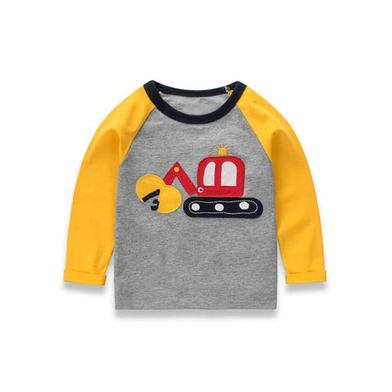 Kiskissing Cool Cartoon Excavator Printed Long-sleeve Paneled Tee Cotton T-shirt Pullover Top for Toddlers Boys wholesale toddler boutique clothing