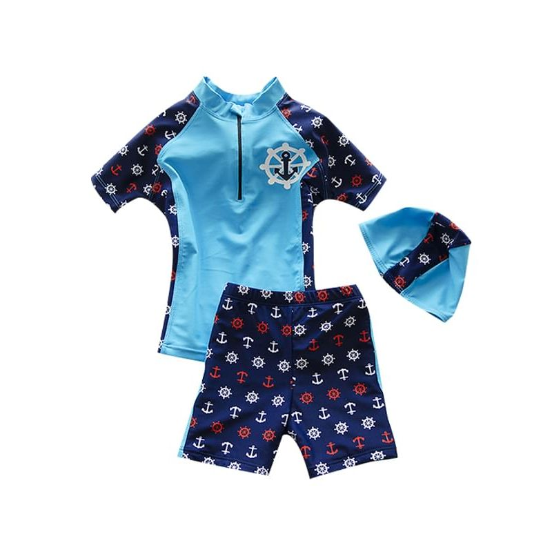 Kiskissing light blue 3-piece Elastic Swimwear Set Short-sleeve Anchors Rudders Printed Top Shorts Hat for Toddler Boys wholesale kids swimwear