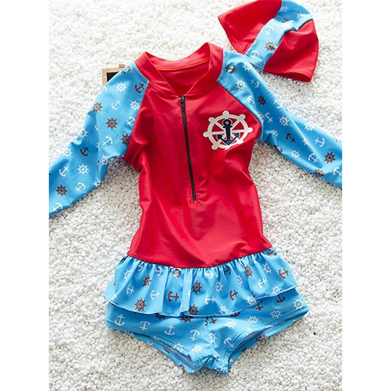 Kiskissing red Elastic Swimwear Set Long-sleeve Anchors Rudders Printed Jumpsuit Hat for Toddler Girls wholesale kids swimsuit