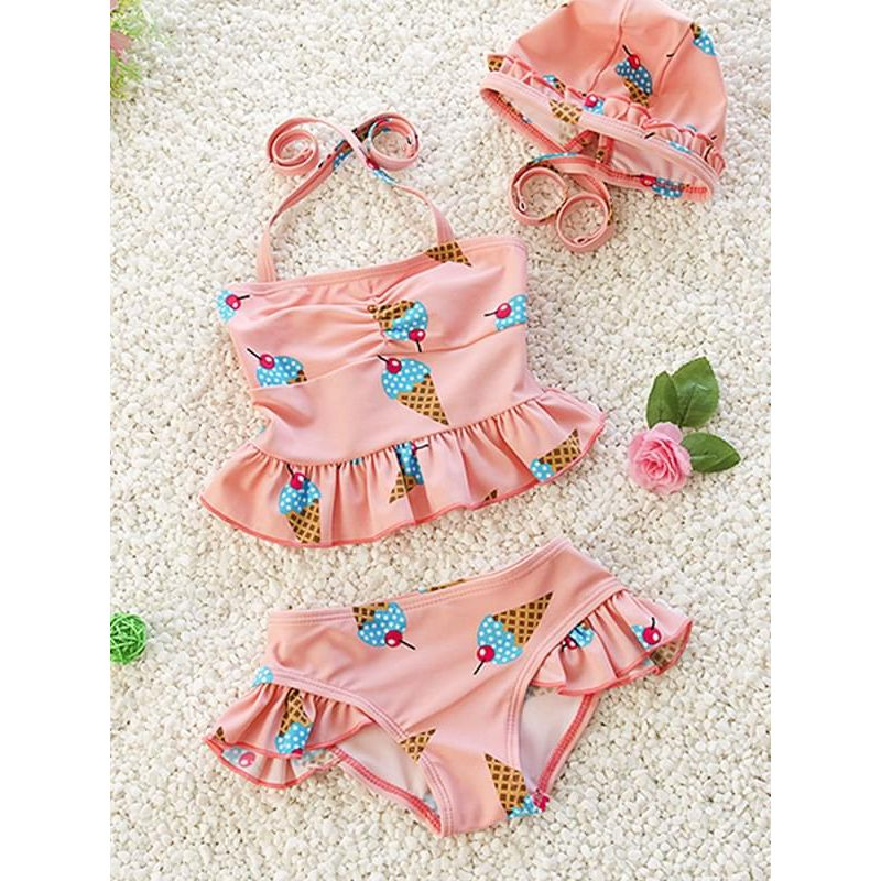 Kiskissing pink 3-piece Elastic Swimwear Set Ice-cream Printed Top Shorts Hat for Baby Toddler Girls wholesale children's boutique clothing