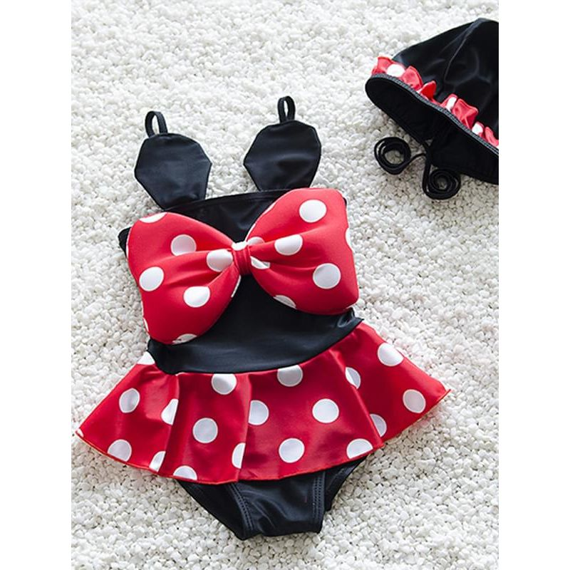 Kiskissing Cute Elastic Swimwear Set Dots Printed Bow Jumpsuit Hat for Toddler Girls wholesale baby onesies