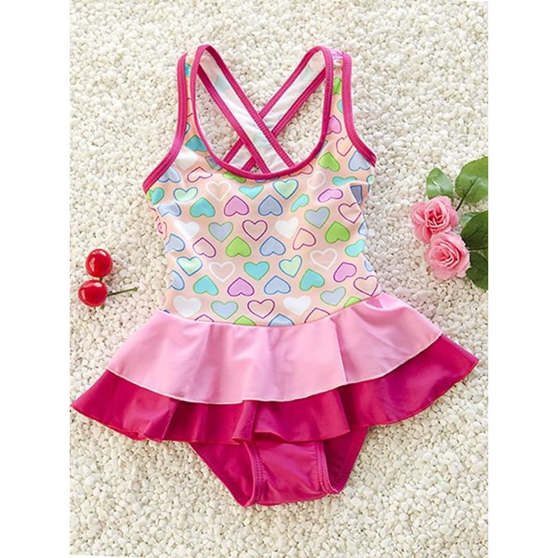 Kiskissing Cute Elastic Swimwear Hearts Printed Strapped Jumpsuit for Toddler Girls wholesale baby onesies