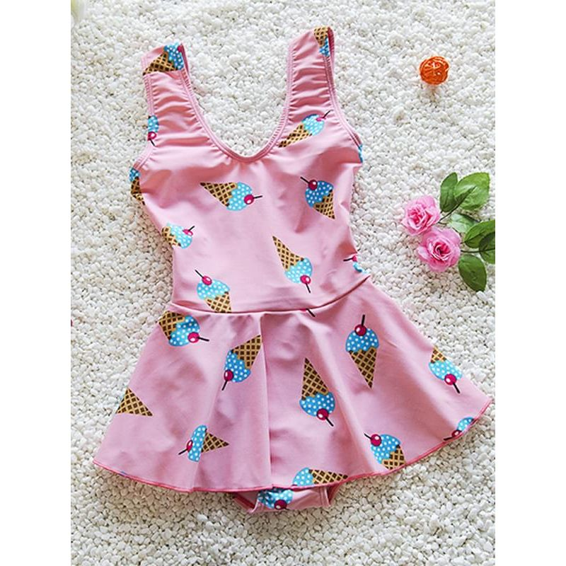 Kiskissing pink Cute Elastic Swimwear Ice Cream Printed Strapped Jumpsuit for Big Girls kids wholesale clothing