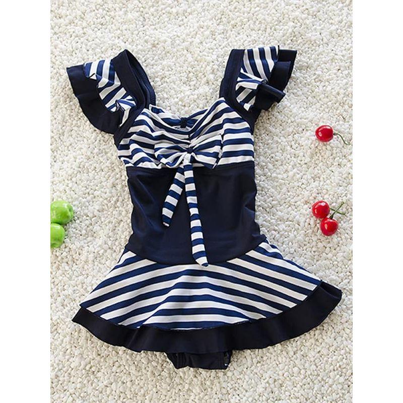 Kiskissing Pretty Elastic Swimwear Bow Striped Jumpsuit for Toddlers Girls wholesale kids swimwear the obverse side