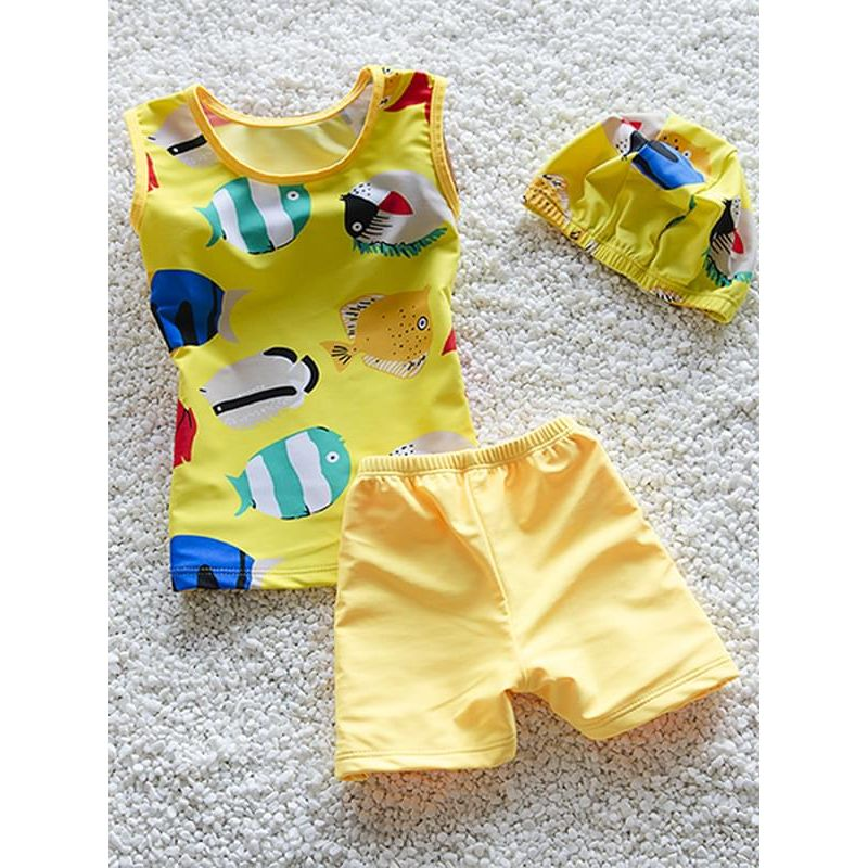 Kiskissing 3-piece yellow Cartoon Fish Elastic Swimwear Set Top Shorts Hat for Toddlers Boys wholesale toddler boy clothes