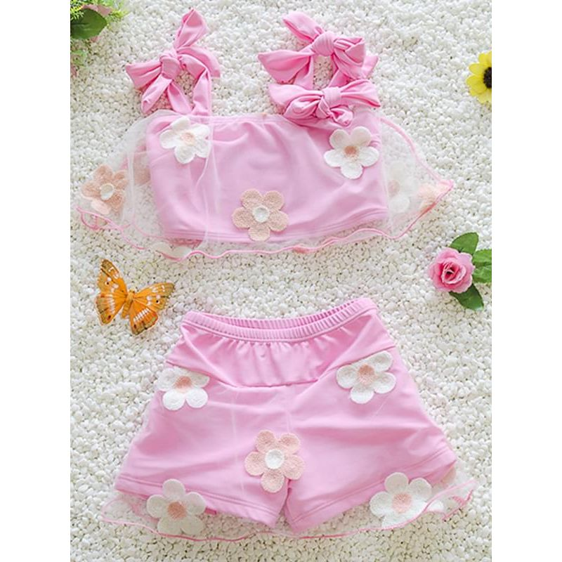 Kiskissing 2-piece pink Flower Tulle Strapped Swimwear Set Top Shorts for Big Girls wholesale kids swimsuit
