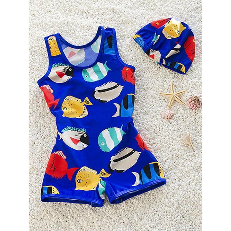 Kiskissing blue 2-piece Elastic Cartoon Fish Swimwear Set Sleeveless Jumpsuit Cap for Baby Toddle Boys children's boutique clothing wholesale
