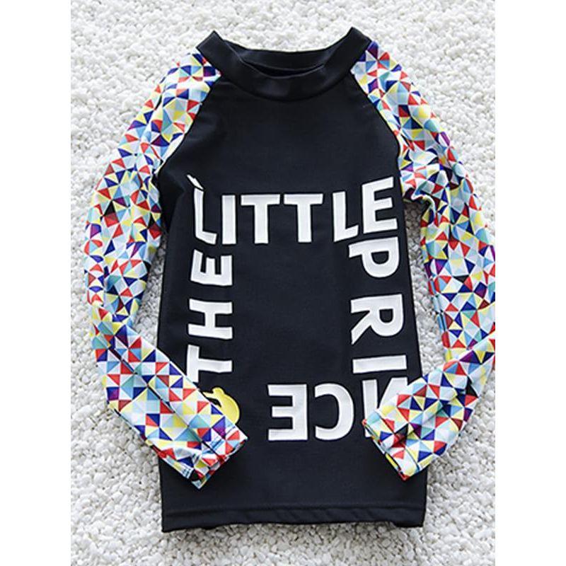 Kiskissing 2-piece Elastic Swimwear Set Letters Printed Long-Sleeve Top Pants for Toddlers Big Boys wholesale kids swimwear