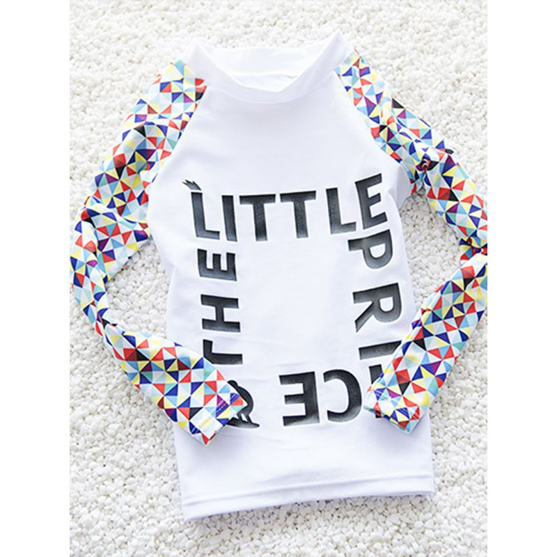 Kiskissing 2-piece White Elastic Swimwear Set Letters Printed Long-Sleeve Top Pants for Toddlers Big Girls trendy kids wholesale clothing