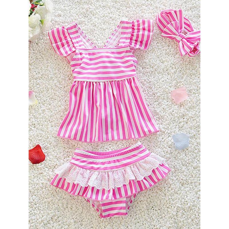Kiskissing 3-piece pink Cute Striped Printed Bikini Swimwear Set Top Skirt Type Shorts Headband for Toddlers Girls wholesale kids swimsuit