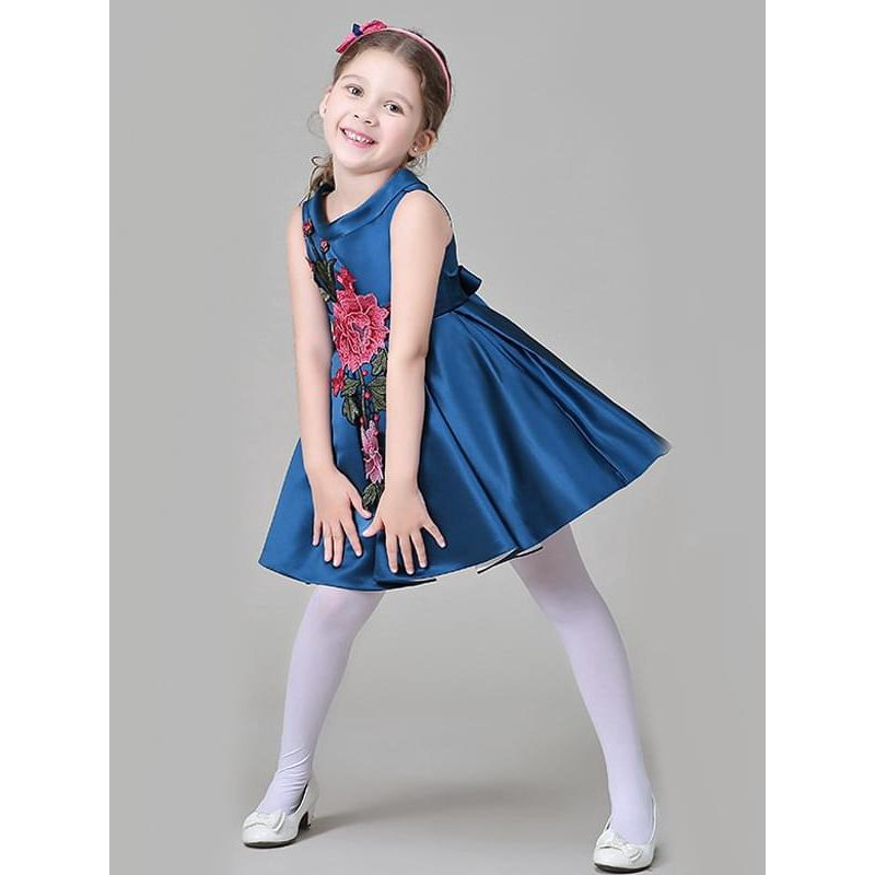 Bow Flower Embroidery Ruffled Tutu Princess Party Dress for Toddlers Girls