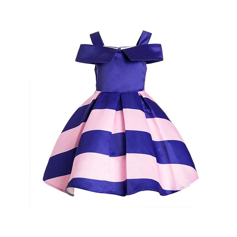 Kiskissing Strapped Striped Color-block Ruffled Party Dress A-line for Toddlers Big Girls wholesale toddler girl dresses the obverse side