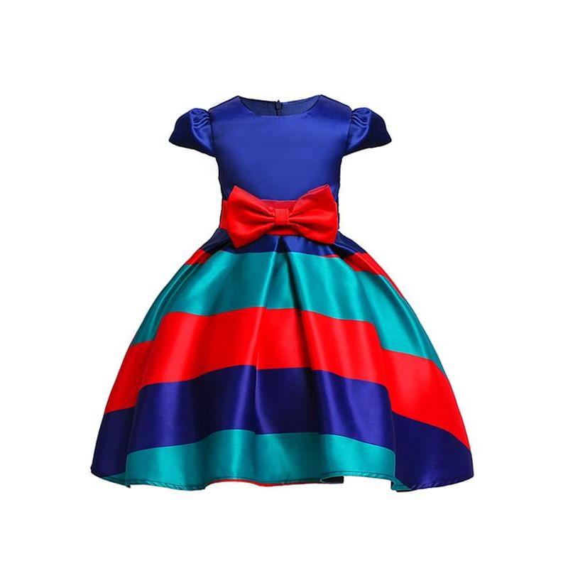 Kiskissing Striped Color-block Bow-knot Tutu Princess Party Dress for Toddlers Big Girls wholesale princess dresses