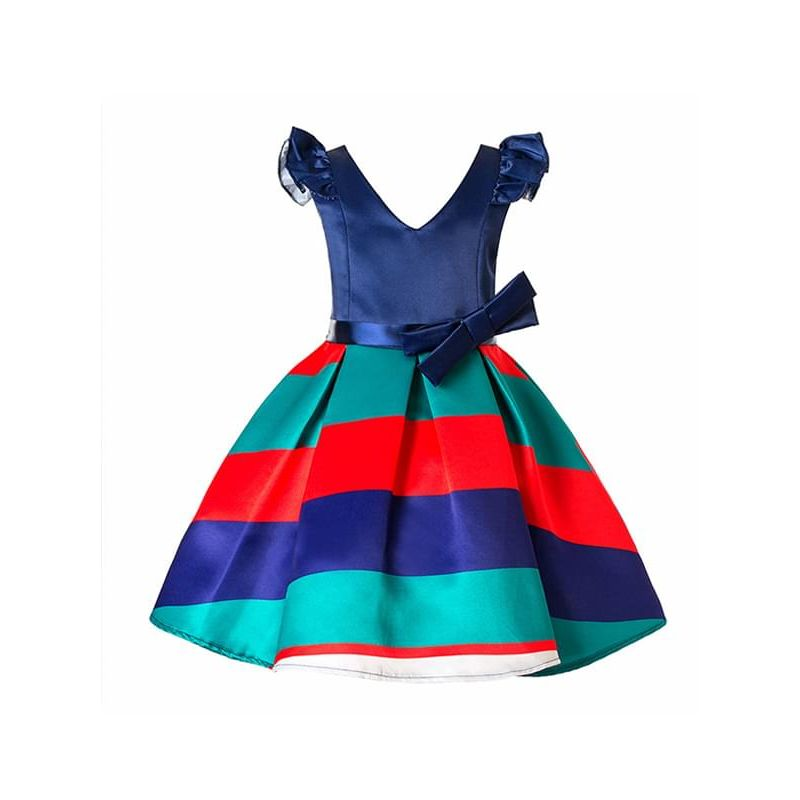 Kiskissing Paneled Striped Color-block V-neck Bow-knot Party Dress for Toddlers Big Girls wholesale princess dresses