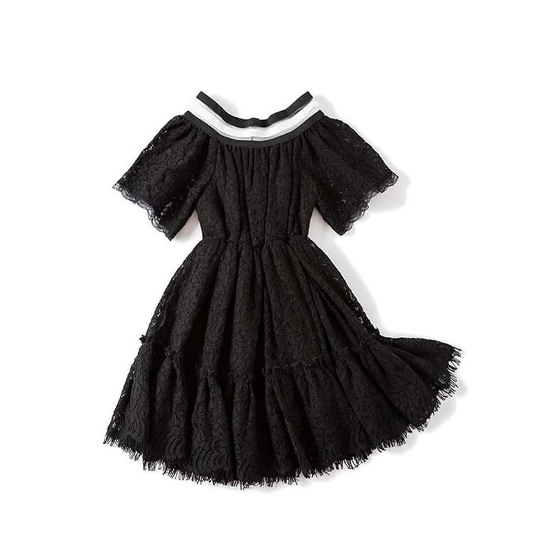 Kiskissing black Solid Color Stylish Lace Princess Party Dress Waisted Short-sleeve for Toddlers Big Girls wholesale princess dresses