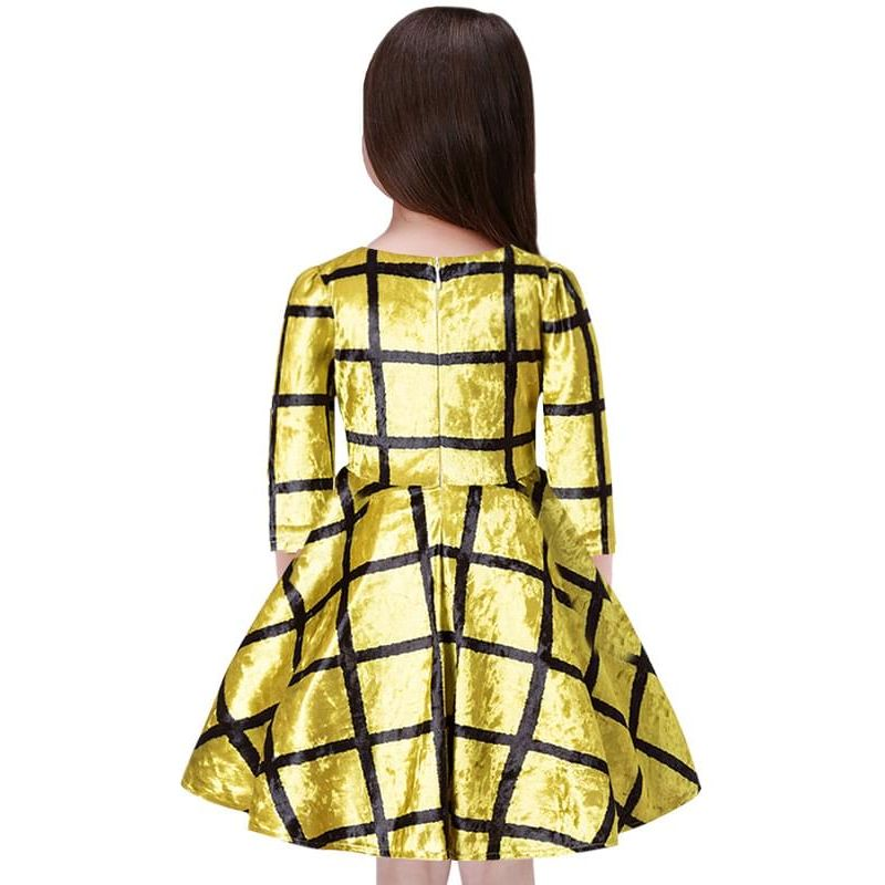 Kiskissing Fashion Pleuche Striped Golden Party Dress Big-hem Long-sleeve for Toddlers Girls wholesale children's boutique clothing