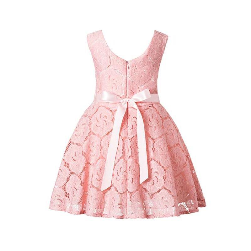 Kiskissing pink Pierced Flower Tutu Princess Party Dress Big-hem Sleeveless V-neck for Toddlers Girls wholesale princess dresses