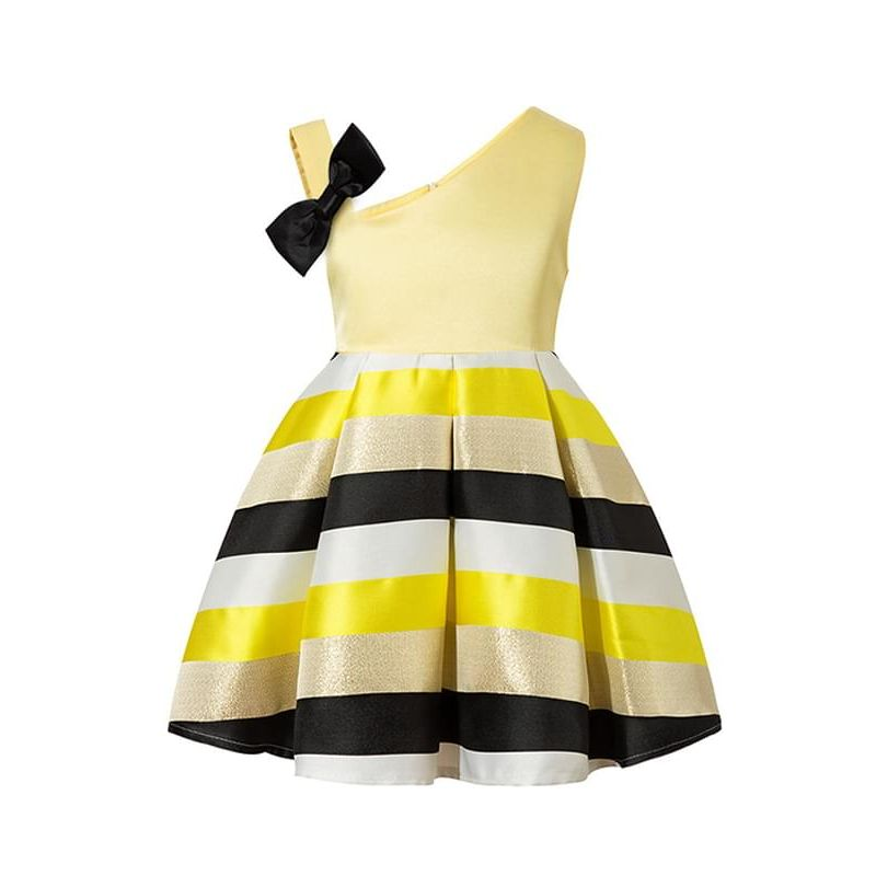 Kiskissing yellow One-shoulder Strapped Bow Stripes Tutu Princess Party Dress Big-hem Sleeveless Toddlers Girls wholesale princess dresses the obverse side