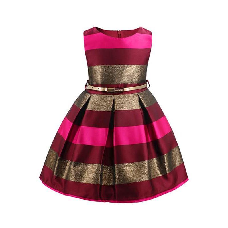 Kiskissing rose Sleeveless Bow-knot Stripes Printed Tutu Princess Party Dress Big-hem for Toddlers Girls wholesale princess dresses