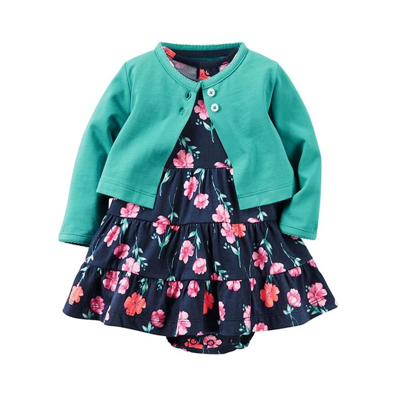 Kiskissing 2-piece Baby Girls Cotton Thin Coat Dress-type Romper Set Long-sleeve Top Floral Romper wholesale baby clothes