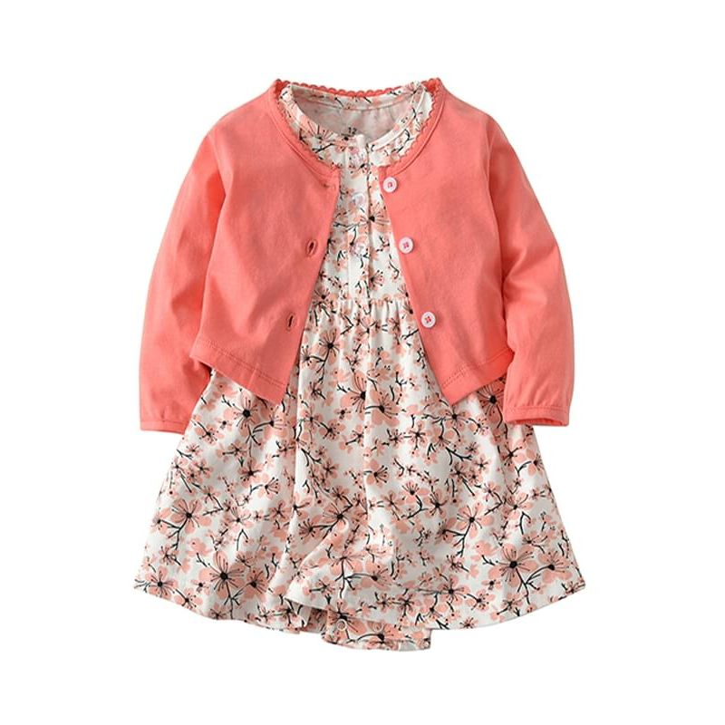 Kiskissing red 2-piece Baby Girls Dress-type Romper Bodysuit Cotton Thin Coat  Set Long-sleeve Top Floral Romper children's boutique clothing wholesale