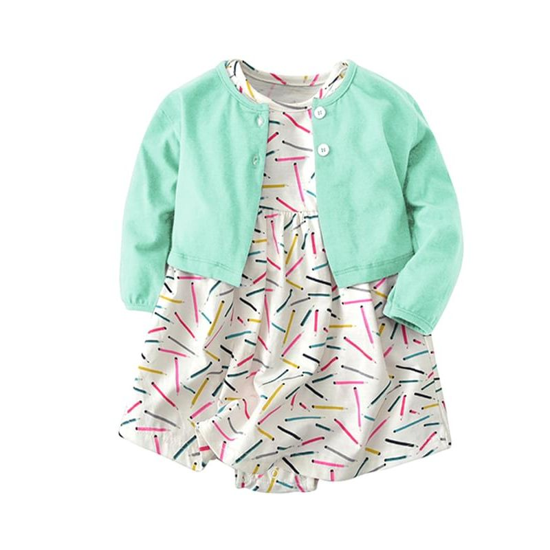 3fb09a6dbb038 Kiskissing 2-piece green Pencils Printed Baby Girls Dress-type Romper  Bodysuit Cotton Thin