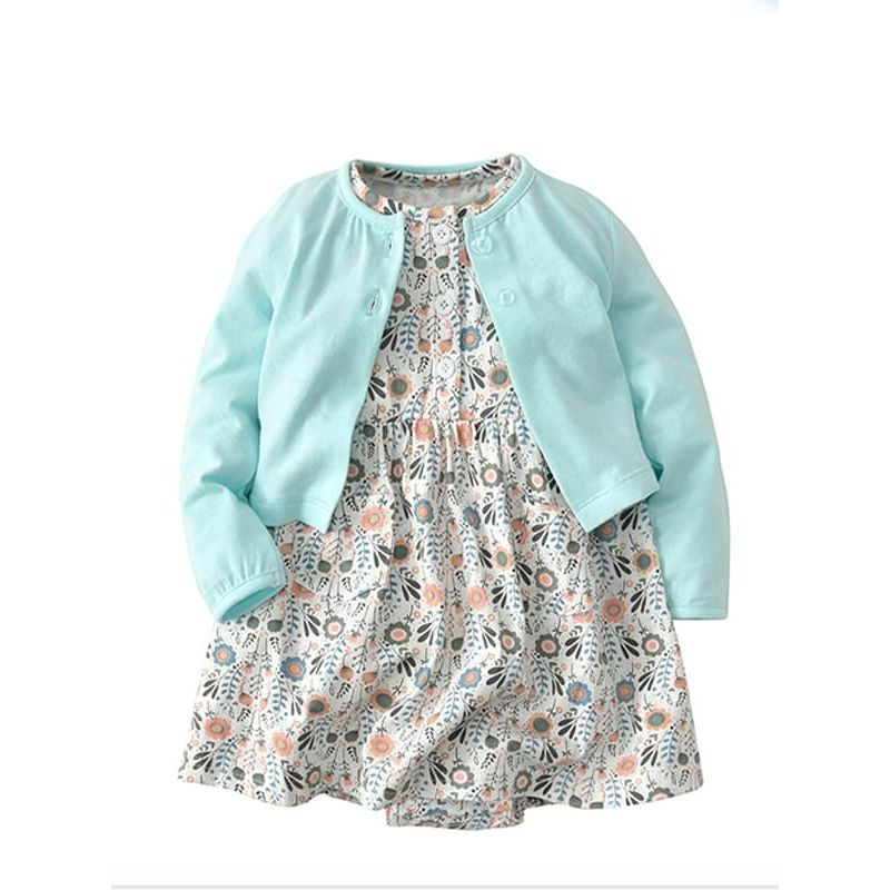25b8ddbd52951 Kiskissing 2-piece Flowers Printed Baby Girls Dress-type Romper Bodysuit  Cotton Thin Coat