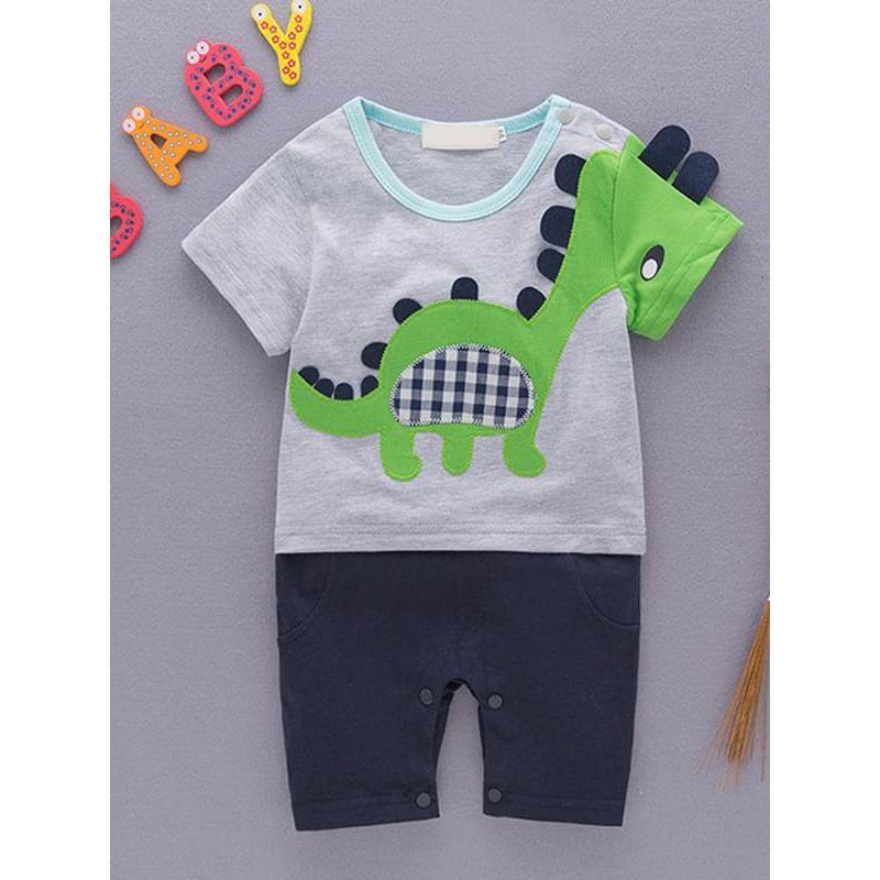 Kiskissing Cartoon Dinosaur Pattern Cotton Romper Jumpsuit Short-sleeve for Baby Boys the obverse side wholesale boys clothing