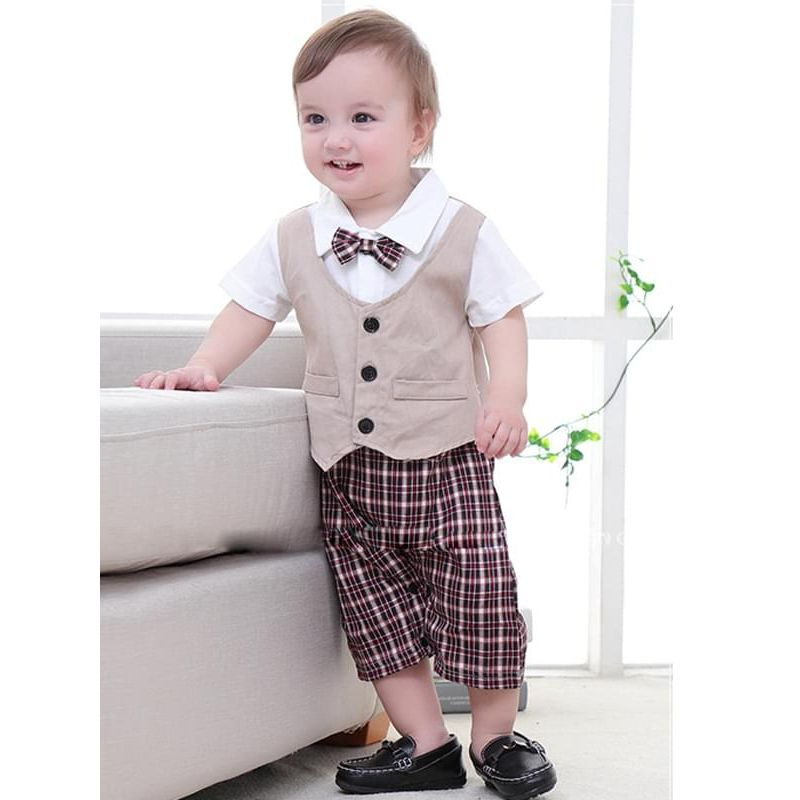 Kiskissing Bow Formal Style Cotton Vest Plaid Romper Jumpsuit Short-sleeve for Baby Boys the model show wholesale baby clothes