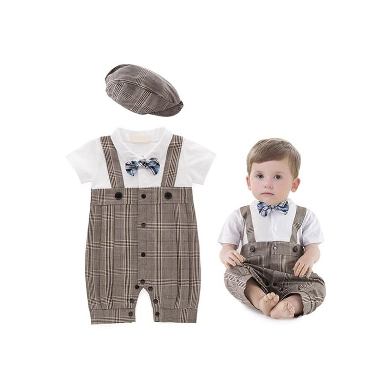 Kiskissing 2-piece Baby Boys Romper Hat Set Bow Formal Style Cotton Plaid Overalls Jumpsuit the model show wholesale baby onesies