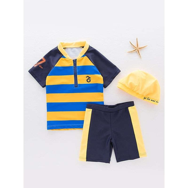 Kiskissing 3-piece yellow Color Block Swimwear Set Zip-up Tee Shorts Cap for Toddlers Boys the obverse side wholesale boys clothing