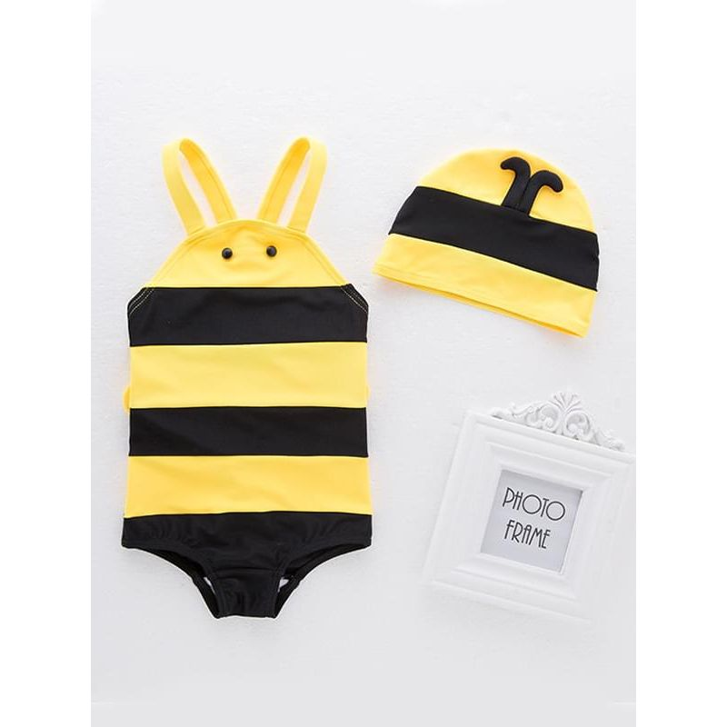 Kiskissing 2-piece Cute Bee Stripes Swimwear Set Strapped Jumpsuit Cap for Baby Toddler Boys the obverse side wholesale kids swimwear