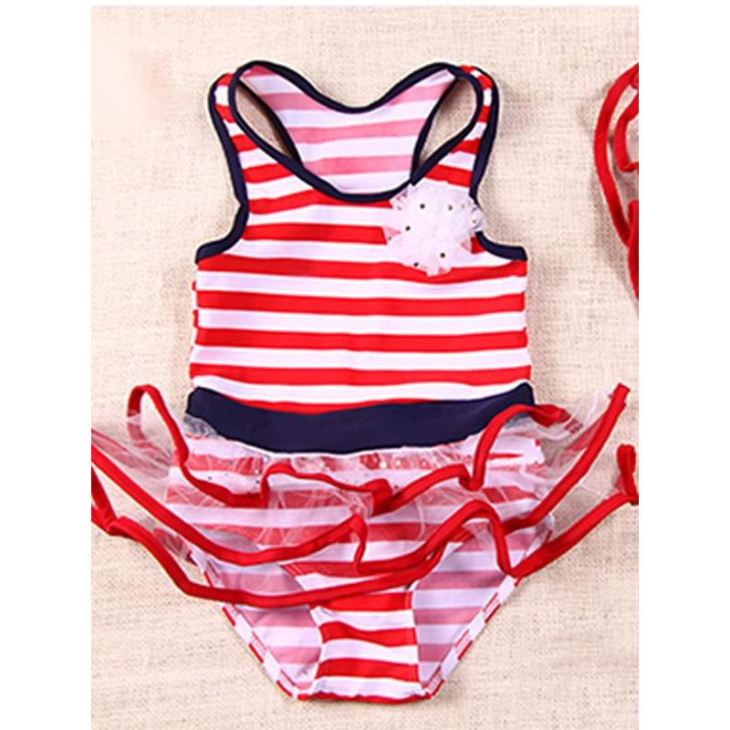 Kiskissing 2-piece Red Stripes Swimwear Jumpsuit Hat Set Beach Hot Spring for Girls 6T trendy toddler clothes wholesale