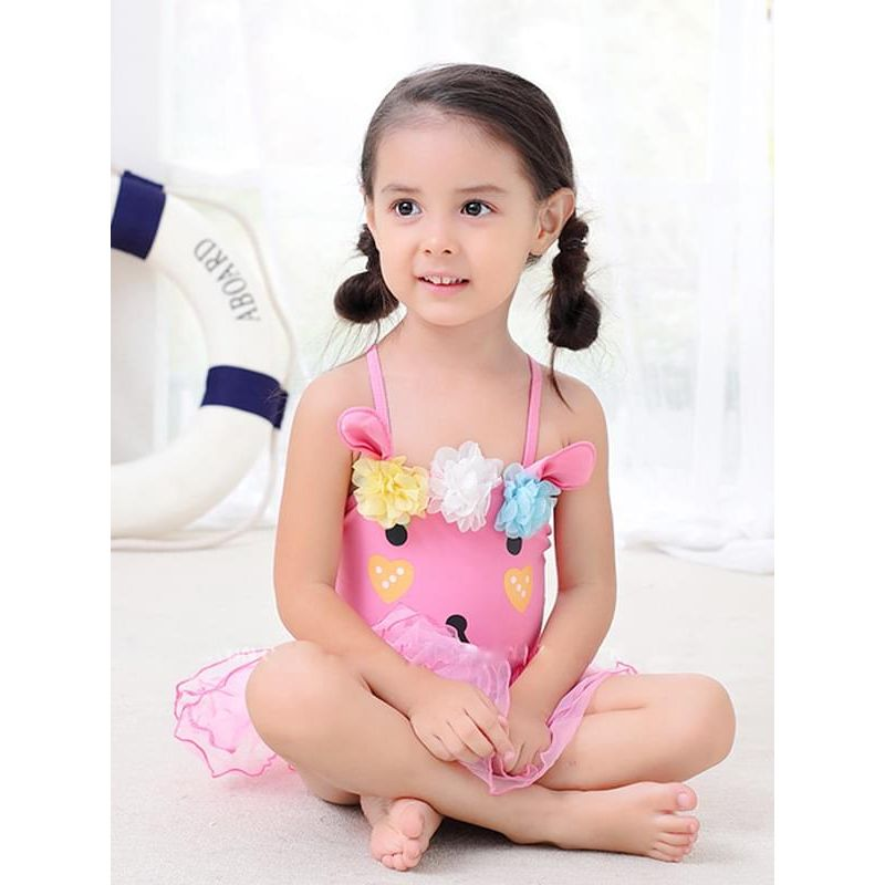 Kiskissing 2-piece Cute Rabbit Pattern Swimwear Hat Set Jumpsuit Hat Beach Hot Spring for Toddlers Girls the model show kids wholesale clothing