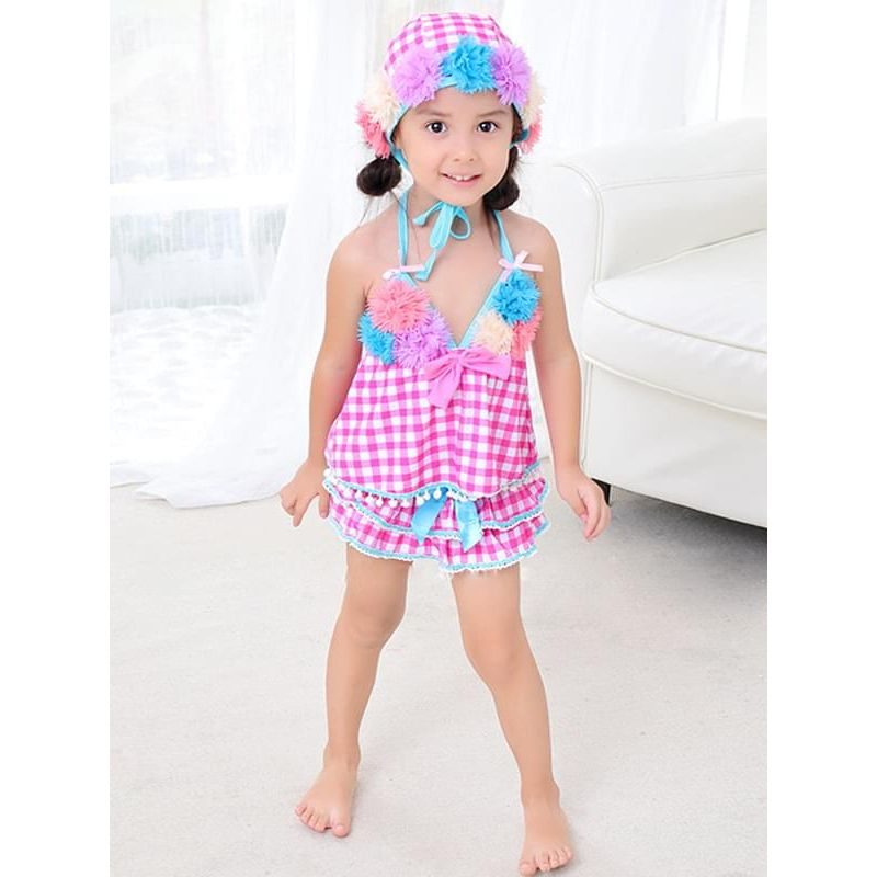 Kiskissing 3-piece Flowers Bow Plaid Swimwear Set Halterneck Top Shorts Hat for Toddlers Girls the model show wholesale kids swimwear