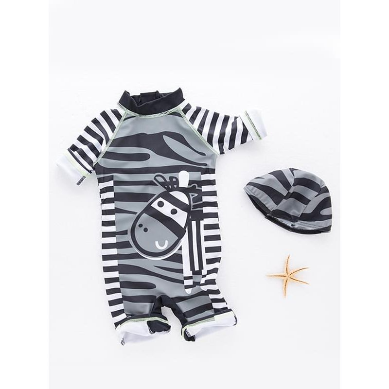 Kiskissing 2-piece Cute Cartoon Stripes Zebra Swimwear Set Onepiece Jumpsuit Cap for Toddlers Boys the obverse side kids wholesale clothing