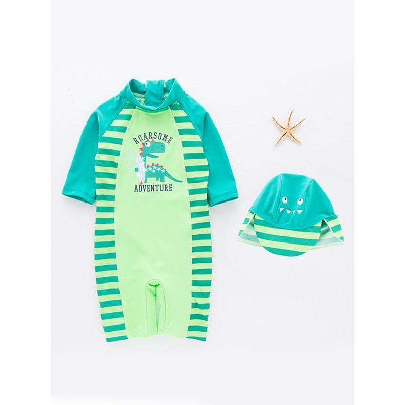 Kiskissing 2-piece Cute Cartoon Dinosaur Swimwear Set Onepiece Jumpsuit Cap for Toddlers Boys the obverse side wholesale kids swimwear