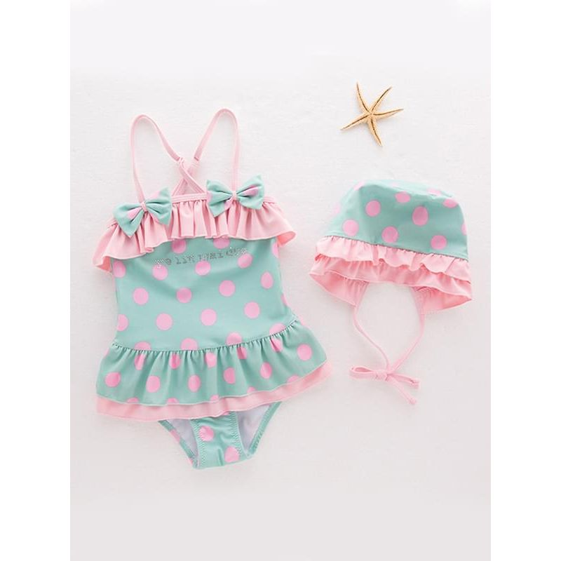 Kiskissing 2-piece Cute Dots Bow-knot Onepiece Swimwear Set Strapped Jumpsuit Hat for Toddlers Girls the obverse side wholesale girls clothing
