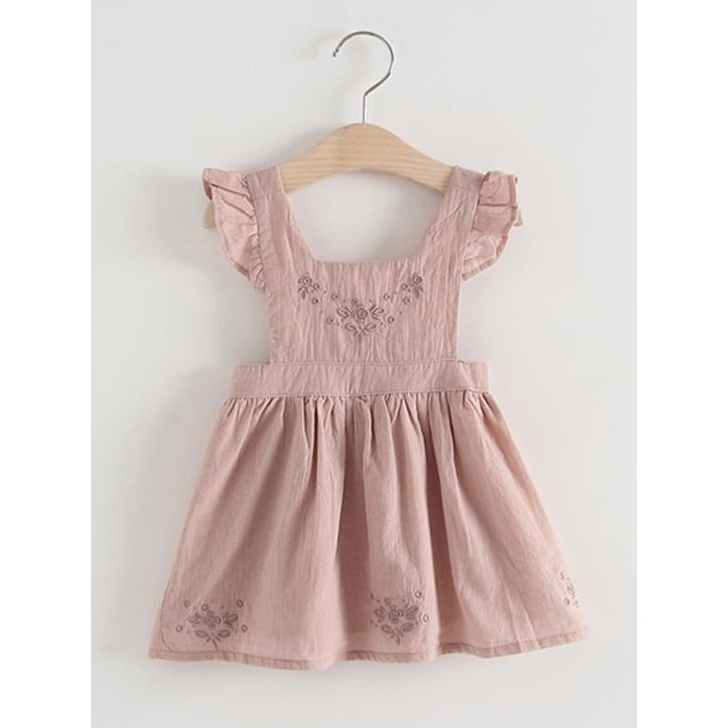 Kiskissing Cute Pink Flower Sleeveless Strapped Cotton Dress for Toddlers Girls the obverse side wholesale girls clothing