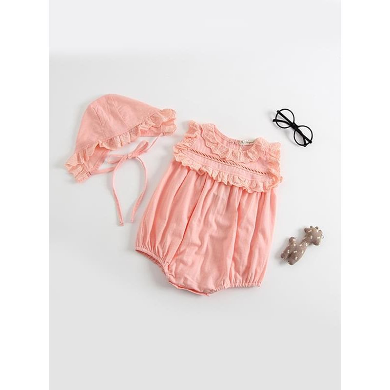 Kiskissing pink Thin Sleeveless Lace Bodysuit Romper with Detachable Hat for Baby Toddler Girls wholesale baby onesies