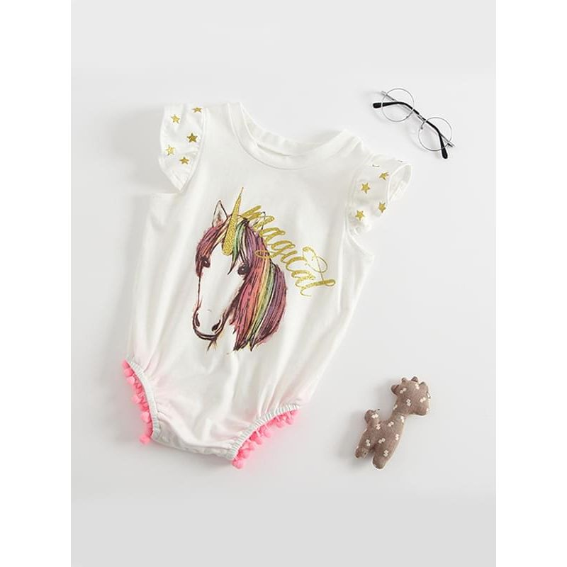 54edab40f2d8 Kiskissing Cute Unicorn Printed Bodysuit Cotton Romper Sleeveless for Baby Toddler  Girls the obverse side wholesale