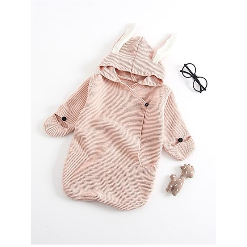 Kiskissing pink Cute Rabbit Pattern Knitted Sleeping Bag for Under 73cm Baby Boys Girls wholesale baby accessories