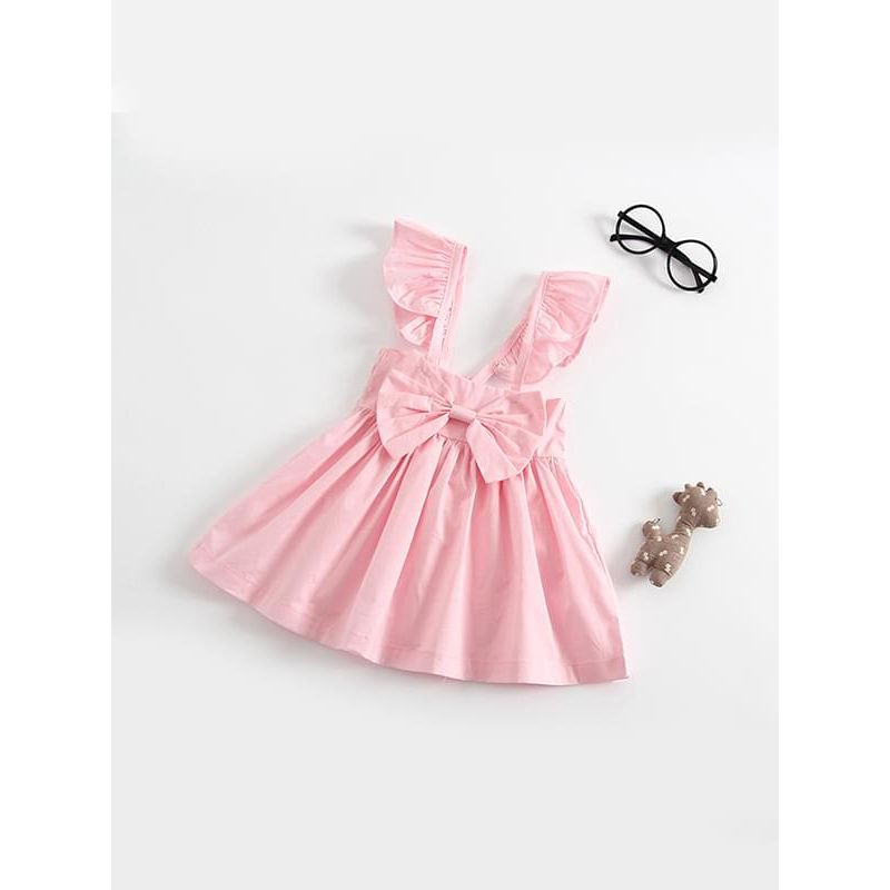 Kiskissing pink Solid Color Sleeveless Backless Bow Big Hem Cotton Dress for Baby Toddler Girls wholesale baby clothes