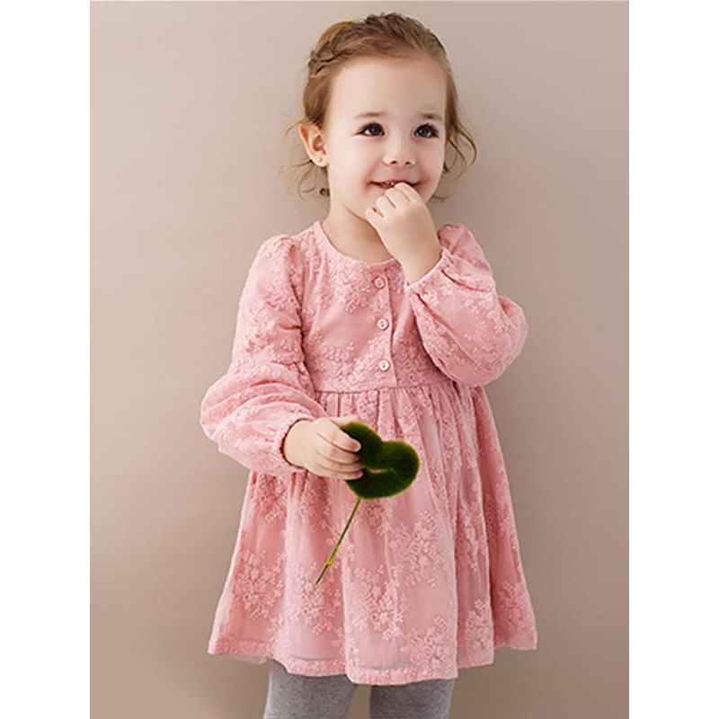Kiskissing pink Long-sleeve Flowers Lace Buttons Princess Dress for Toddlers Girls the model show wholesale princess dresses