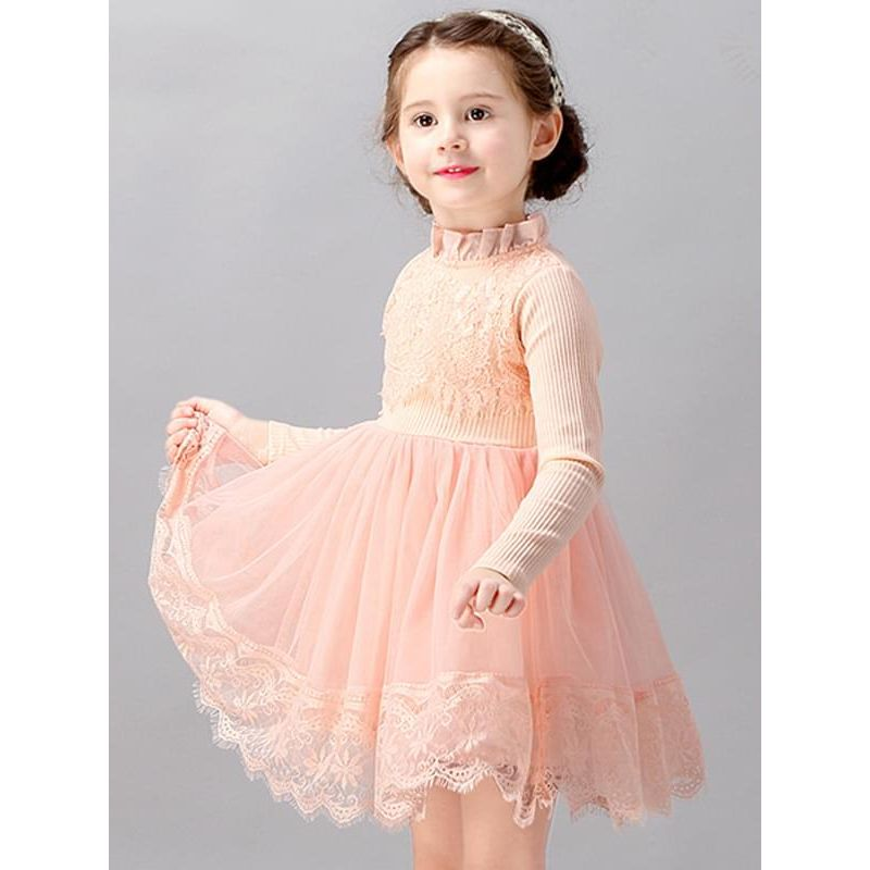 Kiskissing Pink Long-sleeve Flowers Lace Tutu Princess Dress Stand Collar for Toddlers Girls the model show trendy kids wholesale clothing